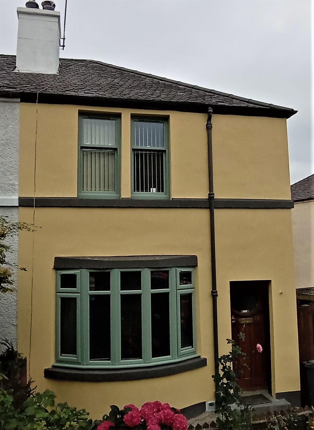Silicone, coloured render system to semi-detached in Edinburgh